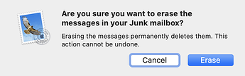 Asked if Sure to Delete from Junk