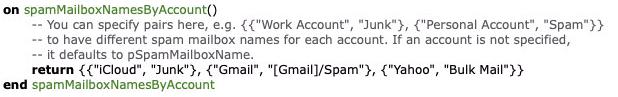 spamMailboxNames
